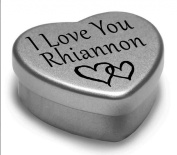 I Love You Rhiannon Mini Heart Tin Gift For I Heart Rhiannon With Chocolates. Silver Heart Tin. Fits Beautifully in the Palm of Your Hand. Great as a Birthday Present or Just as a Special Gift to Show Somebody How Much You Love Them.