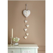 Christmas 6 LED White Rattan Hanging String Heart Lights Battery Operated