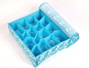 Foldable BLUE underwear sock bra tie draw DIVIDER organiser STORAGE container box