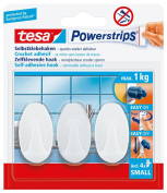 tesa 57533 Powerstrips, Small Hooks, Oval White, Self Adhesive and Removable