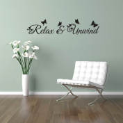 RELAX and UNWIND quote, floral design with butterflies, wall art sticker decal words, BLACK, 58x12 cm