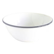 Enamelware Serving Bowl - Solid White with Grey Rim
