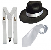 DELUXE 1920S GANGSTER FANCY DRESS SET - TRILBY HAT + SUSPENDER BRACES +TIE