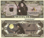 Novelty Dollar Witch Black Cat One Million Dollar Bills x 4 Cauldron Broomstick Good Bad Halloween Gift