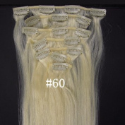 #60.Platinum Blonde 38cm 46cm 50cm 60cm Fashional Clips in Remy Human Hair Extensions For Full Head Hot Sale