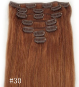 #30 Light Auburn 38cm 46cm 50cm 60cm Fashional Clips in Remy Human Hair Extensions For Full Head Hot Sale