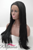 K'ryssma Natural Looking Synthetic Lace Front Braided Wig for Black Women Heat Resistant Fibre Hair Pigtail Wig Half Hand Tied 46cm #1b