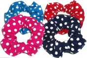 Polka Dot Print Fabric Hair Scrunchies Set of 4 Ponytail Holders Navy Red Turquoise Hot PInk Handmade by Scrunchies by Sherry