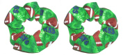 Football Hair Scrunchie Green Fabric Ponytail Holders Set of 2 Ties Handamde by Scrunchies by Sherry