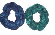 Hair Scrunchies Coral Reef Ocean Blue Green Fabric Ponytail Holders Set of 2 Ties Handamde by Scrunchies by Sherry