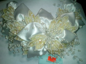Bridal Headpiece, White Satin and Ivory Sequin Leaves on Comb, One Piece, #E1271