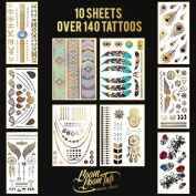 Temporary Tattoos Flash Sexy Jewellery Fashion Metallic Gold Silver Black Glitter Shimmer Tattoos. This Mega Pack Includes 10 Sheets with More than 140 Tattoos. Get Your Boom Boom Tats Today!