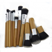 ZENITH FASHION 11Piece Makeup Brush Set Cosmetics Foundation Professional 11Pieces Bamboo Handle