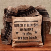 Mothers of Little Girls Are Blessed - French Flea Market Burlap Accent Throw Pillow - 20cm x 20cm