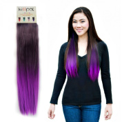 """Kisspat® Purple Dip Dyed Ombre Hair Extension-Synthetic Clip In Hair Extension With Gradual Deep/Light Purple Colours, 5 Clips Easy To Apply & Remove, 60cm - 60cm Long, 23cm wide, """"Step By Step"""" Instruction For You"""
