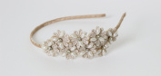 Beige Great Gatsby / Flapper Inspired Fashion Headband / Hairband Flower Design with Faux Pearls & Rhinestones