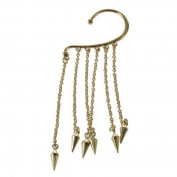 Shop4Jewelry365(TM) New Gothic Punk Spike Long Dangle Chain Tassel Hook Ear Bone Cuff Clip Earring-Gold