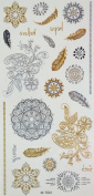 GGSELL Golden and silver and black Metallic Temporary tattoos Indian and Middle Eastern trial flowers, feather and totem design