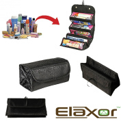 Elaxor™ Multi Functional Waterproof Travel Bag Organiser - Makeup & Toiletry Organiser - Jewellery - Accessories - Electronics - Roll it up and GO - Hanging Rolling 4 Compartments
