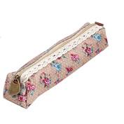 BESTIM INC NEW Cosmetic Zipper Storage Case Pouch Bag Purse Floral Lace Pen Pencil