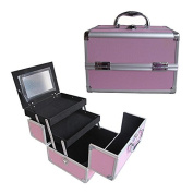 BerucciTM Professional Pink 25cm Lightweight Aluminium Makeup Artist Organiser Kit with 2 Extendable Trays, Aluminium Trimming, Lock and Keys, Mirror, and Shoulder Strap