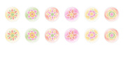 12pc x 16mm Handmade Round Domed Czech Glass Cabochons Flowers 1 S5T39
