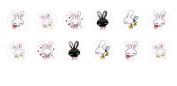 12pc x 12mm Handmade Round Domed Czech Glass Cabochons Rabbits S7T89