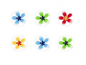 6pc x 25mm Handmade Round Domed Czech Glass Cabochons Rainbow Flowers S1T56