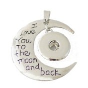 Chunk Snap Charm I Love You to the Moon and Back Pendant-Free Chain