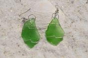Pretty Green Dangling Sea Glass Earrings