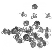 HooAMI Stainless Steel Eye Pins Bead Caps for Jewellery Making 8.5x6mm