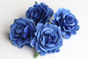 CheckMineOut Pack of 5 Royal Blue Artificial Rose Flower Heads Bridal Wedding Flower Women Hair Clip Headpieces Hair Jewellery Bridesmaid Gifts Brooch