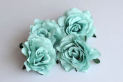 CheckMineOut Pack of 5 Mint Green Artificial Rose Flower Heads Bridal Wedding Flower Hair Clip Headpieces Hair Jewellery Bridesmaid Gifts Brooch