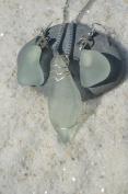 Genuine Light Sea Foam Sea Glass Sterling Silver Earrings and Necklace Set