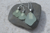 Pale Aqua Sea Glass Sterling Silver Earrings and Necklace Set