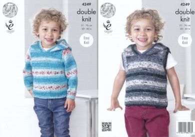 King Cole Splash DK Double Knitting Pattern Childrens Boys Hooded Sweater & Slipover (4249)