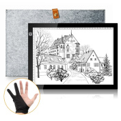 Parblo A4S LED Light Pad 2000lux Tracing Light Box Led Light Pad with Wool Liner Bag and Two Finger Glove for Artcraft Tracing