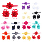 Lisli 3sets/9pcs Baby Girl's Kids Flowers Foot Band Ties Barefoot Sandals Shoes and Headband