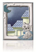 "STERLING SILVER Picture Frame KITTY (13cm x 7)"". Made in Italy"