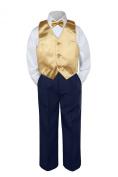 Leadertux 4pc Baby Toddler Boy Mustard Vest Bow Tie Set Navy Blue Pants Suit S-7