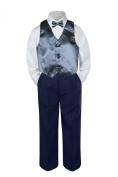 Leadertux 4pc Baby Toddler Boys Dark Grey Vest Bow Tie Navy Blue Pants Suits S-7