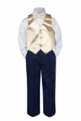 Leadertux 4pc Baby Toddler Boys Champagne Vest Bow Tie Navy Blue Pants Suits S-7