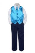 Leadertux 4pc Baby Toddler Boys Turquoise Vest Necktie Navy Blue Pants Suit S-7 (S: