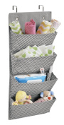 mDesign Chevron Wall Mount/Over Door Fabric Closet Storage Organiser for Toys, Baby/Kids Clothing - 4 Pockets, Grey/Cream