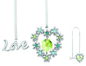 Chrome Plated Blooming Love/heart Bookmark with Green. Element Crystals