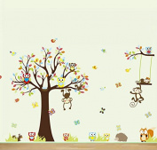 Colourful Owl and Monkey with Tree and Swing Vinyl Wall Decal for Kids, Nursery Room