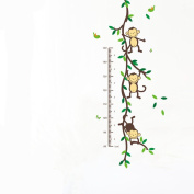 Trees Monkeys Hanging on Tree Removable Growth Chart Nursery Wall Decal