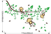 Large Hanging Monkey and Green Leaves Birds Wall Strickers for Nursery