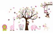 Cute Zoo Animal Wall Sticker with Monkey Playing on Tree Branch with Zebra,lion,elephant Giraffe and Owl Nursery Wall Stickers