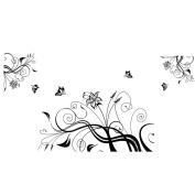 Beautiful Wisteria Flowers Vine and Flying Butterflies Livingroom Art Wall Stickers
